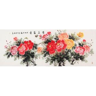 【已售】客厅装饰画 张福生六尺横幅牡丹图《荣华富贵》