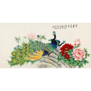 【已售】北京美协 凌雪四尺横幅孔雀牡丹图《荣华富贵》