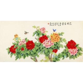凌雪四尺横幅花鸟作品富贵牡丹图《花开富贵》