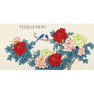 实力派画家凌雪四尺横幅国画牡丹《花开富贵》