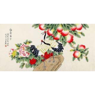 祝寿图 凌雪四尺工笔花鸟画《福寿康宁》