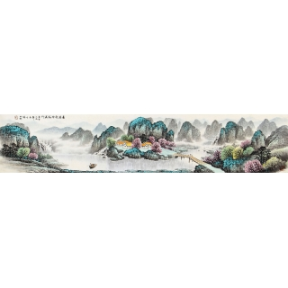 杨炳钧六尺对开山水画作品《春满乾坤福满门》