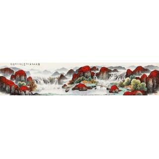 杨炳钧六尺对开山水画作品《鸿运天成富水流》