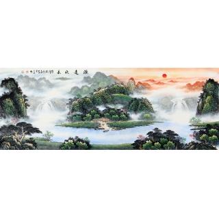 聚宝盆山水画 陈厚刚新品八尺横幅作品《源远流长》