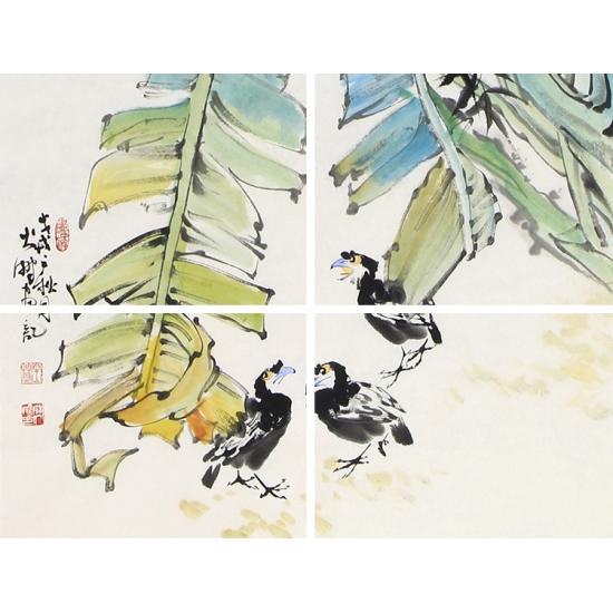 陈大鹏四尺竖幅花鸟画作品《蕉叶》