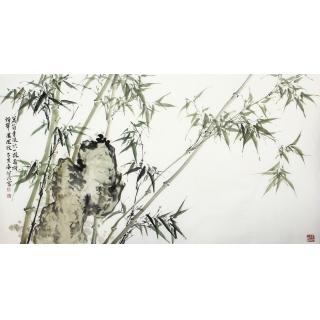 肖洪辉六尺横幅写意竹子国画《绿竹》