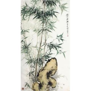 国家一级美术师肖洪辉六尺竖幅竹子图《绿竹淇》