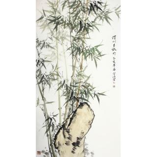 肖洪辉六尺竖幅写意竹子图《渭川千畝竹》