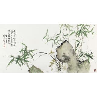 【新品佳作】肖洪辉四尺横幅竹子图《新竹》