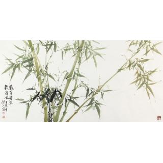 当代著名画家肖洪辉写意花鸟画作品绿竹图《数芊蒼翠舞清风》