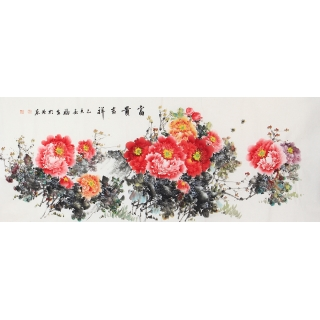 客厅装饰画 张福生新品六尺写意牡丹图《富贵吉祥》