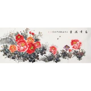 张福生新品六尺横幅写意牡丹《富贵满堂》