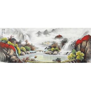 万山红遍鸿运至 杨炳钧新作鸿运山水图《富水长流》