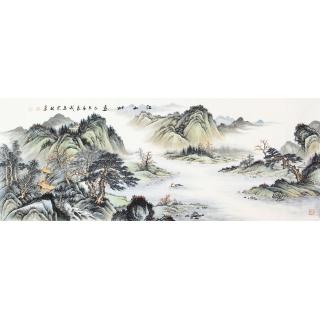 【已售】典藏精品国画 宁良成精心创作仿古山水《江山如画》
