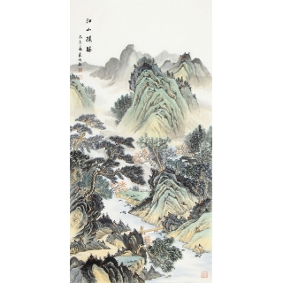 宁良成最新力作四尺竖幅国画作品《江山揽胜》