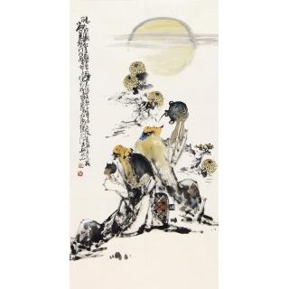 字画收藏 李傅宇三尺竖幅人物画作品《畅饮图》