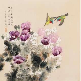 张琳精品斗方工笔花鸟画《朵朵紫艳佔春风》