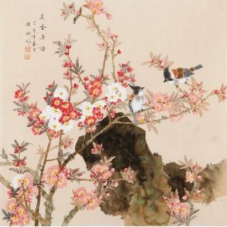 张琳四尺斗方工笔花鸟画《花香鸟语》