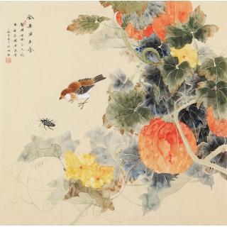张琳四尺斗方工笔花鸟画《禽来果虫香》