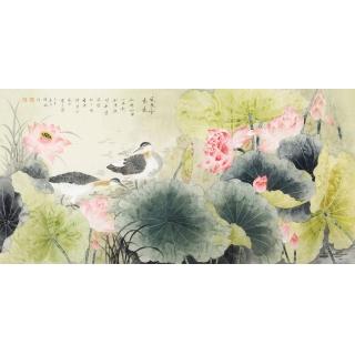 张琳四尺横幅工笔花鸟画荷花图《风来香气远》