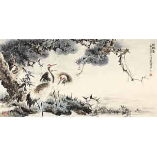 益寿延年 石艺博四尺横幅花鸟画《松鹤图》