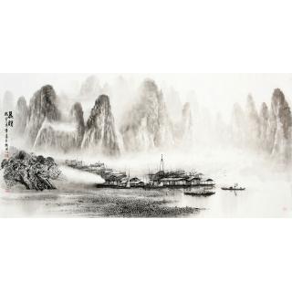 【已售】实力派画家莫桂明四尺水墨山水《晨韵》