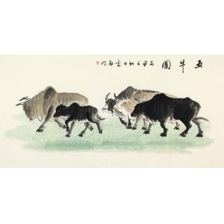 【已售】国画牛 李云舟四尺横幅写意动物画《五牛图》