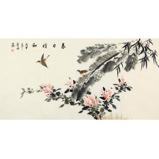 实力派画家李云舟四尺横幅花鸟画《春日喧和》