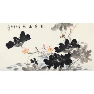 国画荷花 画家李云舟精品写意《老荷迎秋》