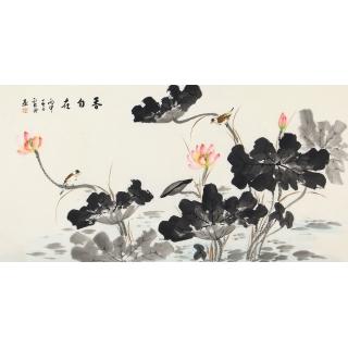 写意荷花图 李云舟四尺横幅花鸟画《香自在》