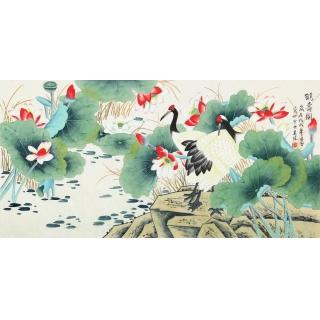 【已售】凌雪最新四尺荷花仙鹤图《鹤寿图》