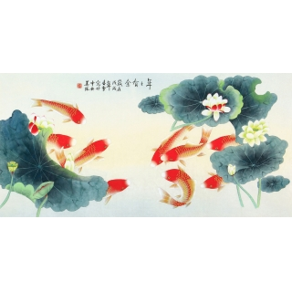 【已售】招财聚宝九鱼图 凌雪四尺横幅荷花鲤鱼图《年年有余》