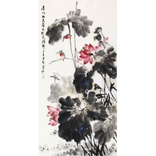 【已售】石云轩四尺竖幅国画荷花图《清水出芙蓉》