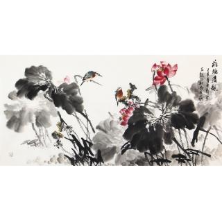 石云轩最新四尺水墨荷花作品《荷塘清韵》