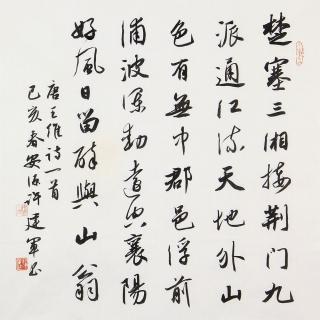 名家字画 许建军四尺斗方书法作品行书《汉江临泛》