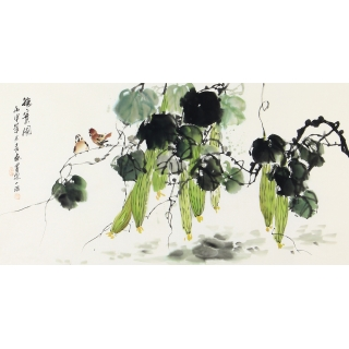 周丹青三尺横幅花鸟画丝瓜《秋实图》