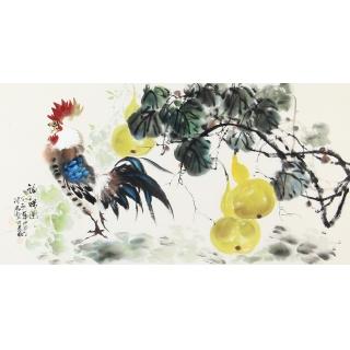 周丹青老师三尺横幅新品葫芦雄鸡图《福禄图》