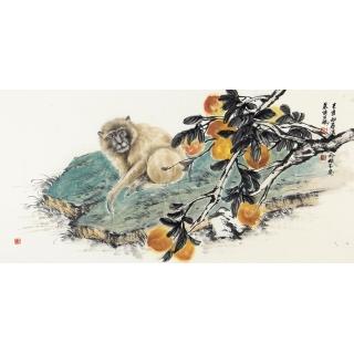 生肖图 王鹏四尺横幅动物画 猴子《国画猴》