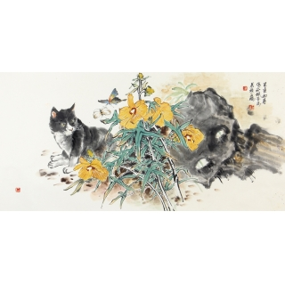 王鹏四尺横幅花鸟画作品《游园戏蝶图》