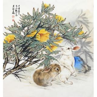 客厅装饰画 餐厅挂画 王鹏六尺斗方动物画《兔》