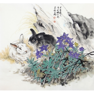 装饰画 王鹏最新六尺斗方动物画《玉兔送吉祥》