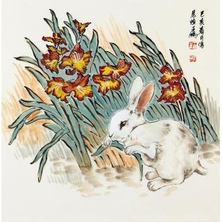国画兔子 王鹏四尺斗方写意动物画《玉兔》