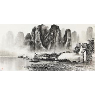 莫桂明三尺横幅新品水墨漓江山水画《家家都在画屏中》