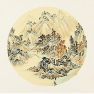 室内装饰画 张利新品仿古小品斗方画《秋山图》