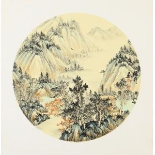 国礼艺术家 张利三尺斗方山水画作品《穷款》