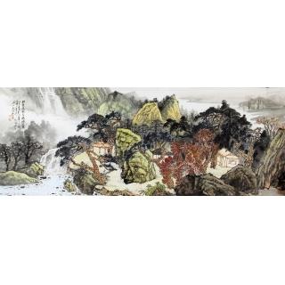 中国美协 张照兵六尺横幅山水画《山水人家》