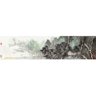 中国美协 张照兵四尺对开山水画《红叶清夏图》