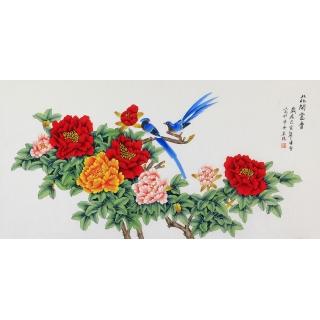 凌雪新品四尺横幅国画牡丹图《国色天香》