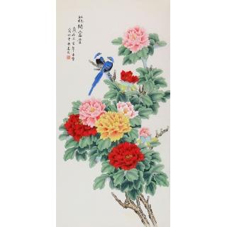凌雪工笔牡丹画新作《花开富贵》