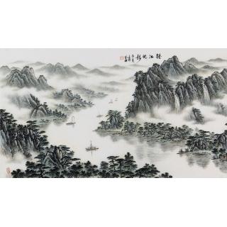 袁发旺三尺横幅青绿山水画《春江帆影》